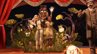 In this scene, the player witnesses the public shaming and abuse toward an interracial couple, complete with simian-based racist imagery.